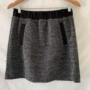 Anne Taylor LOFT Tweed Leather Mini Skirt Pockets